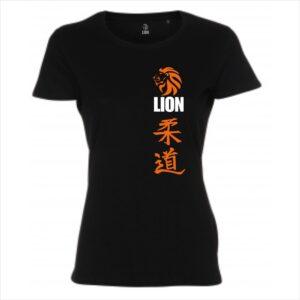 Lion T-shirt judo kanji black women