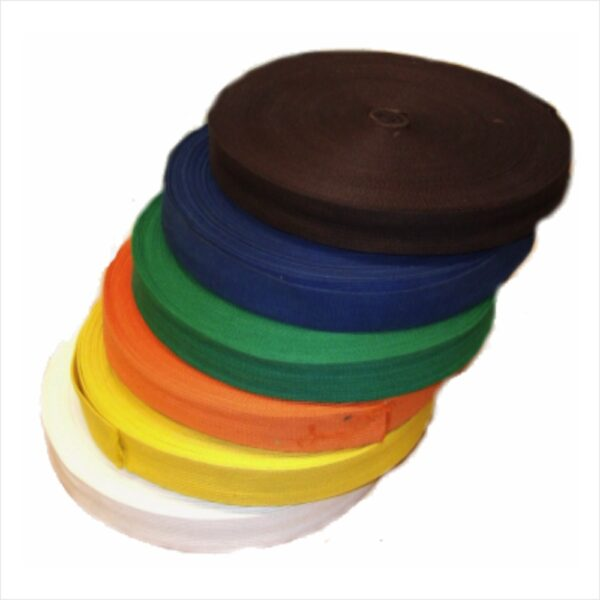 lion belts on spool. Each spool is 50 meter. The belts are available in white, yellow, orange, green, blue, brown and red