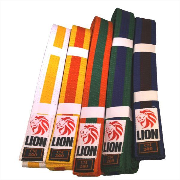 lion belts judo bicolor white-yellow, yellow-orange, orange-green, green-blue, blue-brown