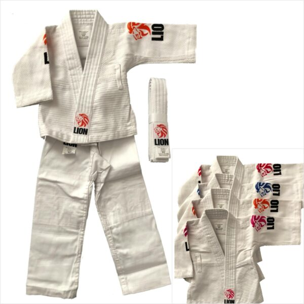 Lion baby judogi available with Lion embroideries in the colors blue, pink, orange and red